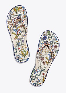Tory Burch PRINTED-STRAP CARVED-WEDGE FLIP-FLOP