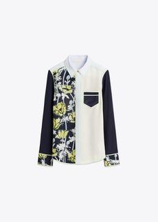 Tory Burch Printed Contrast Silk Shirt