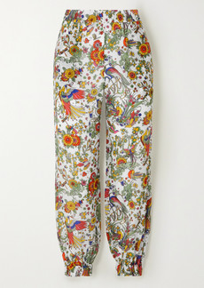 Tory Burch Printed Cotton And Silk-blend Voile Tapered Pants