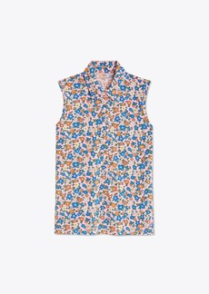 Tory Burch PRINTED MERCERIZED COTTON SLEEVELESS POLO