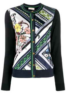 Tory Burch printed panelled cardigan