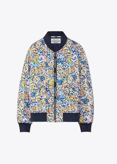 Tory Burch PRINTED PERFORMANCE SATIN BOMBER JACKET