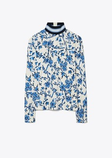 Tory Burch Printed Rib Turtleneck