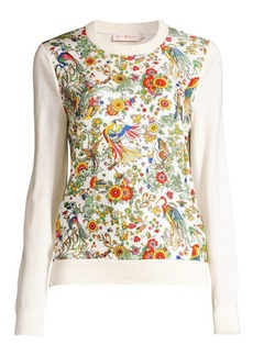 Tory Burch Printed Silk-Front Wool Sweater