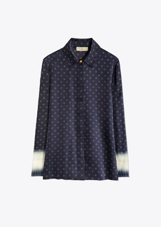 Tory Burch Printed Silk Satin Shirt