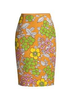 Tory Burch Printed Twill Pencil Skirt