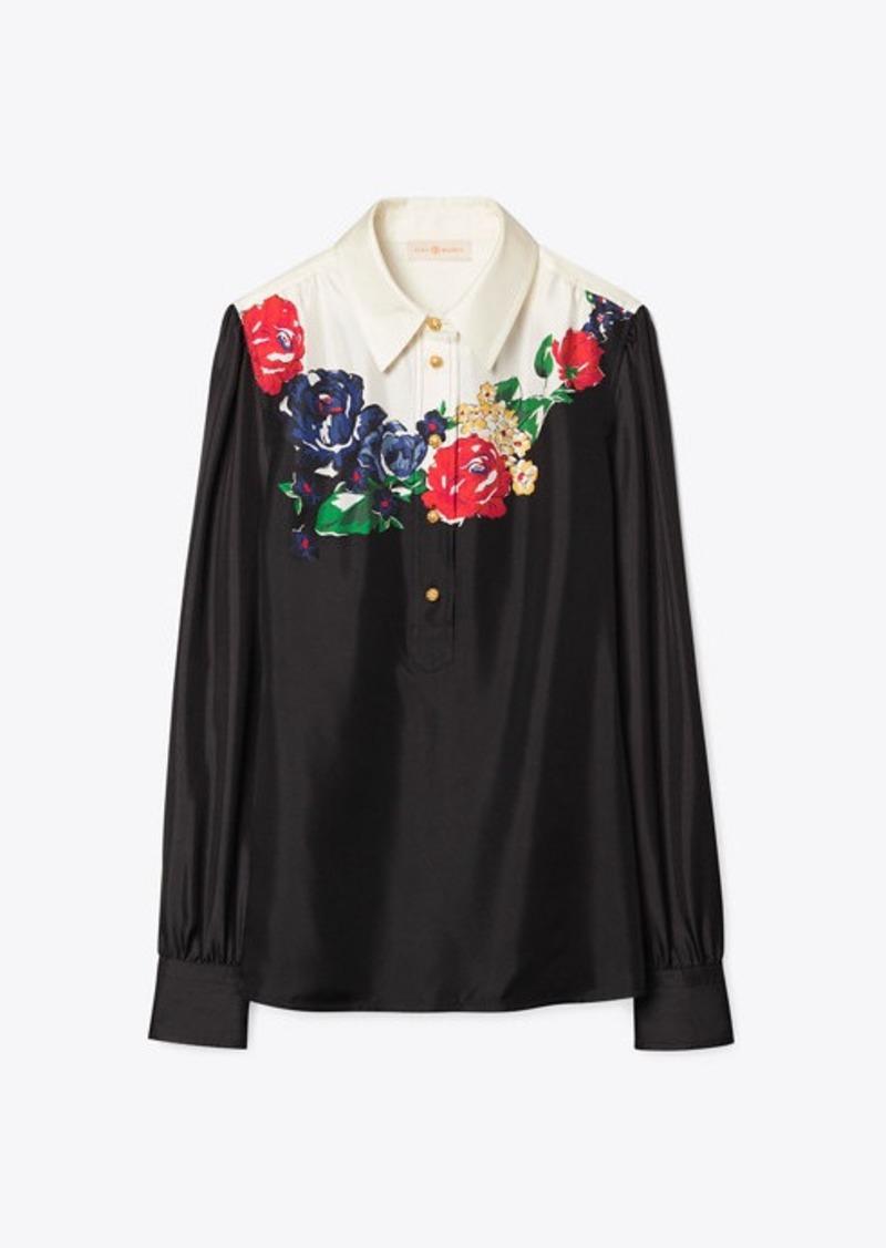 Tory Burch Printed Wide-Collar Tunic Blouse