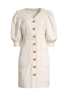 Tory Burch Puff-Sleeve Button Dress