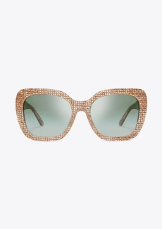 Tory Burch RAFFIA OVERSIZED SQUARE SUNGLASSES