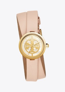 Tory Burch REVA DOUBLE-WRAP WATCH, NUDE LEATHER/GOLD TONE, 28 MM