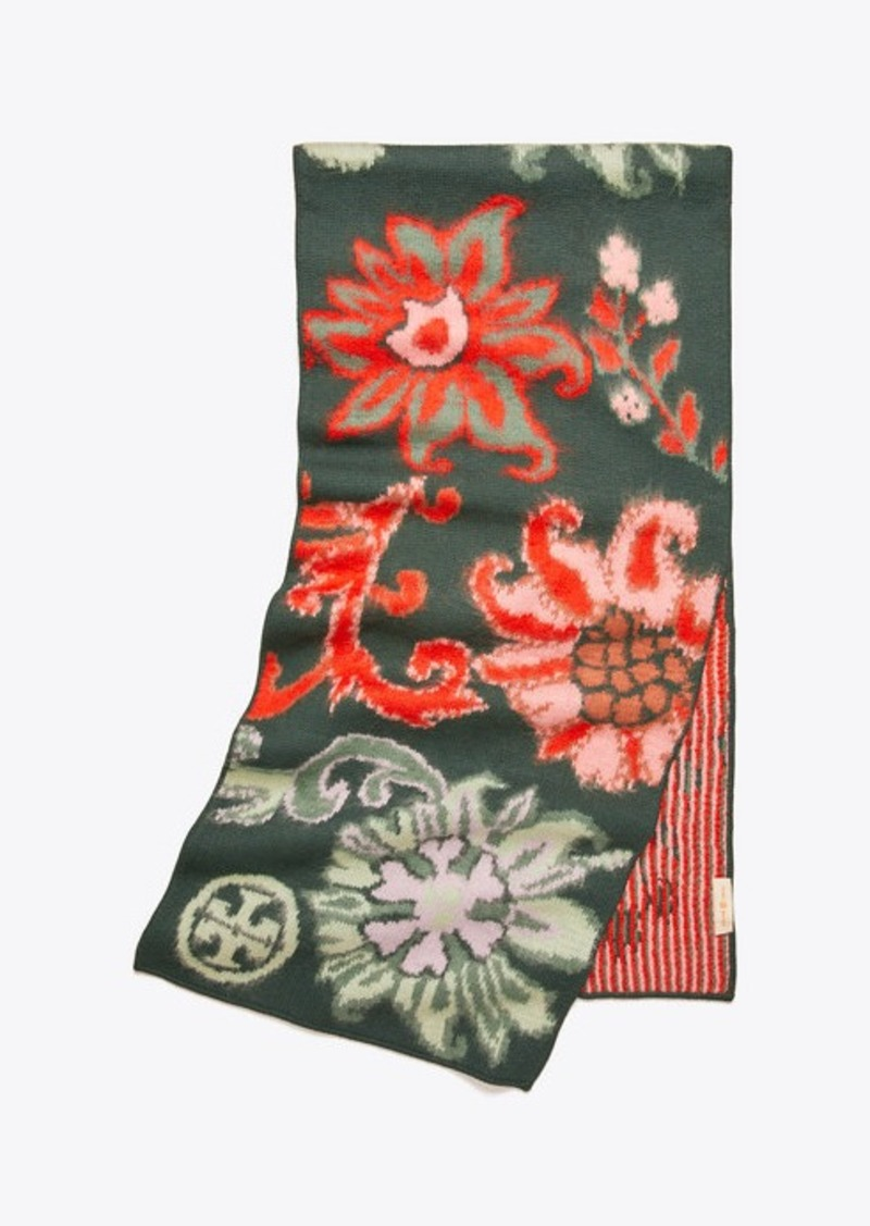 Tory Burch REVERSIBLE FLORAL OBLONG SCARF