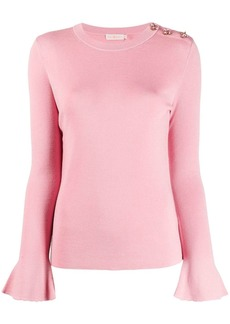 Tory Burch rhinestone-embellished bell-sleeves pullover