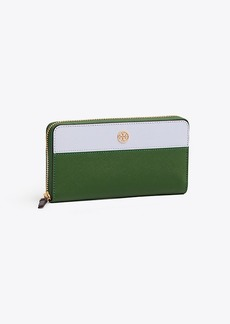 Tory Burch ROBINSON COLOR-BLOCK ZIP CONTINENTAL WALLET