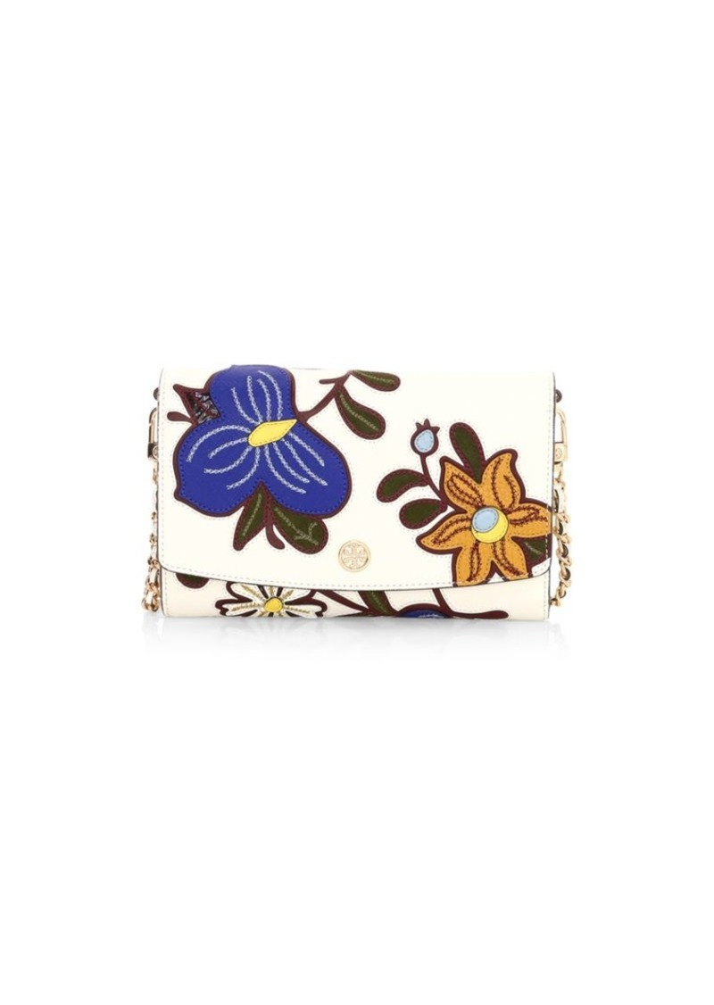 Tory Burch Robinson Floral Leather Wallet-On-Chain