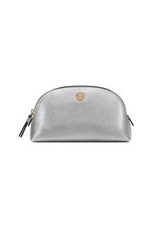 Tory Burch Robinson Small Metallic Leather Makeup Bag