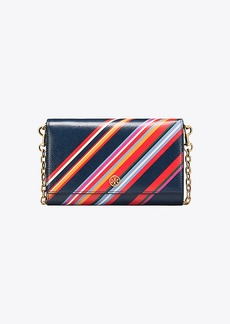 Tory Burch ROBINSON STRIPED CHAIN WALLET