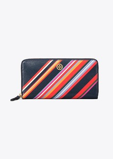 Tory Burch ROBINSON STRIPED ZIP CONTINENTAL WALLET