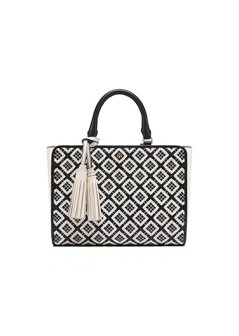 bf82ee0f8bd3 On Sale today! Tory Burch ROBINSON WOVEN-LEATHER SMALL ZIP TOTE