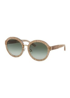 Tory Burch Round Contrast-Temples Acetate Sunglasses