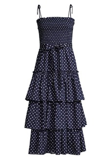 Tory Burch Ruffle Tiered Dotted Dress
