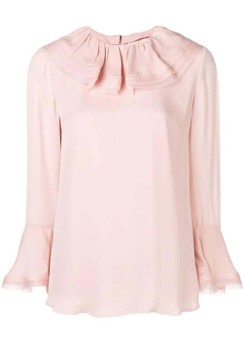 e67bdea92707de Tory Burch ruffled collar silk blouse | Dress Shirts
