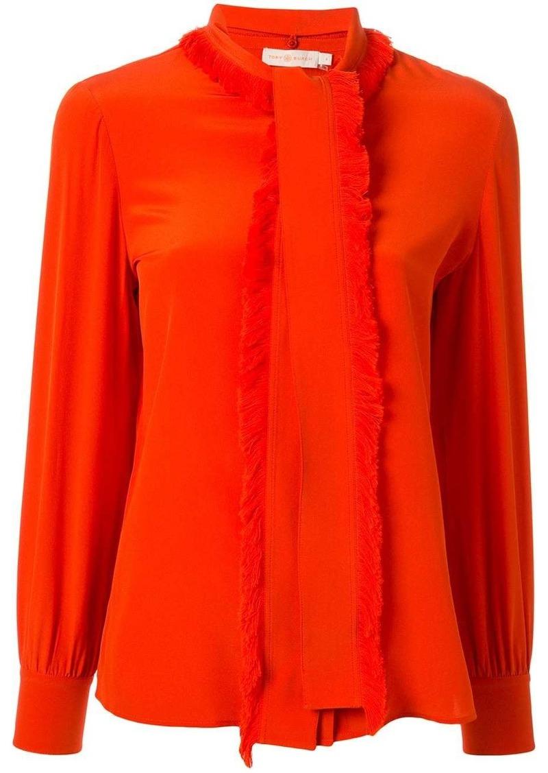 Tory Burch Samba fringed bow blouse