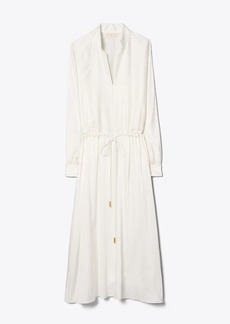 Tory Burch Satin Stripe Drawstring Dress