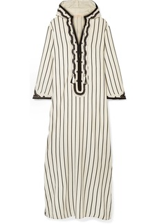 Tory Burch Savonna striped embroidered canvas kaftan