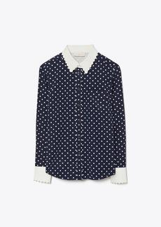 Tory Burch Scallop-Edged Silk Shirt