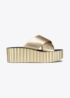 SCALLOP WEDGE LEATHER SLIDE