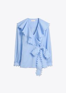 Tory Burch Scalloped Cotton Wrap Shirt