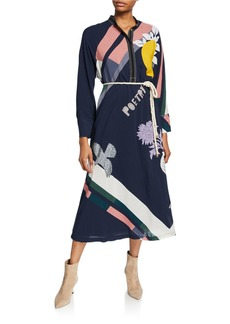 Tory Burch Scarf Print Button-Front Long-Sleeve Dress with Tie-Belt