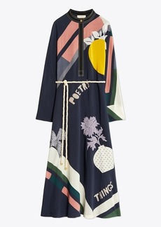 Tory Burch Scarf-Print Embroidered Dress