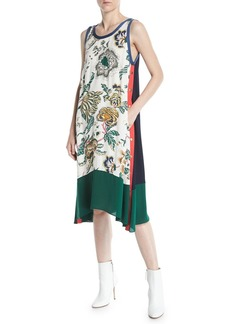 Tory Burch Screen-Print Drapey Tank Dress w/ Side Stripes & Snaps