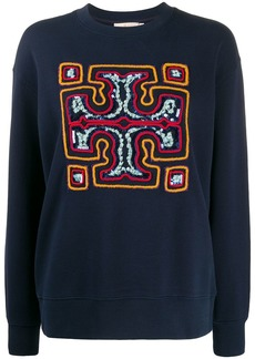 Tory Burch sequin-embroidered logo jumper