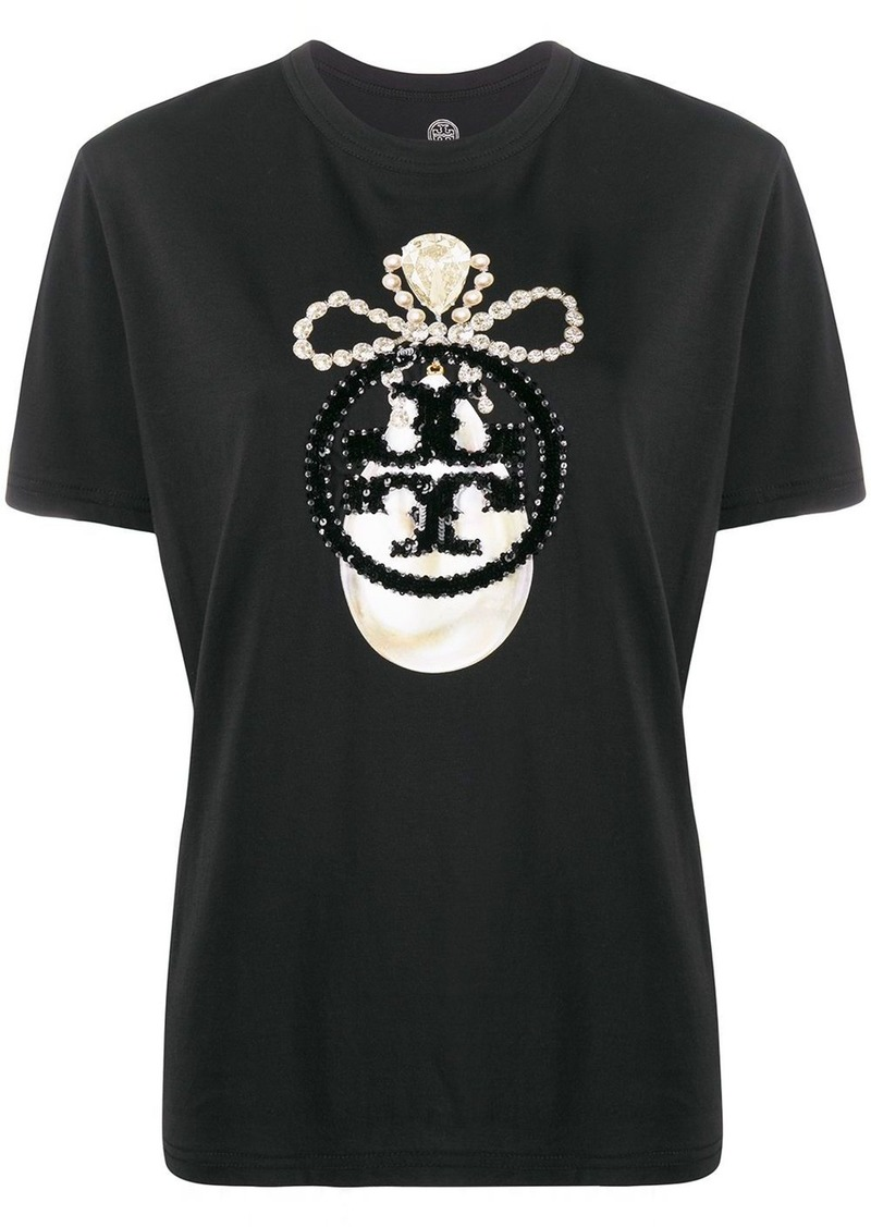 Tory Burch sequin-jewel logo T-shirt