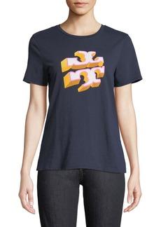 Tory Burch Shadow-Block Logo Crewneck Short-Sleeve Cotton Tee