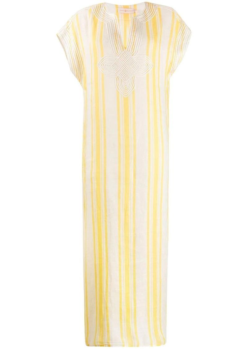 Tory Burch short sleeve striped kaftan dress