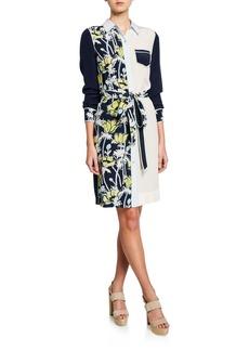 Tory Burch Silk Belted Patchwork Shift Dress
