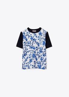 Tory Burch Silk-Front Short-Sleeve Sweater
