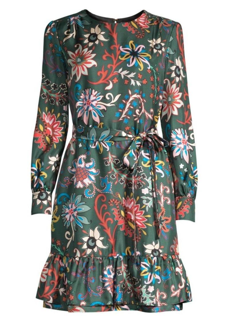 Tory Burch Silk Twill Floral Waist-Tie Dress