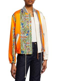 Tory Burch Silk/Wool Twill Zip Bomber Jacket