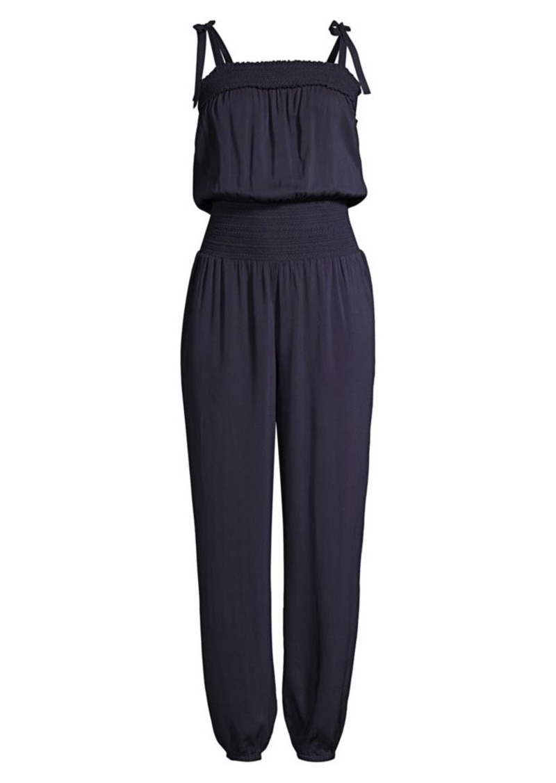 Tory Burch Smocked Blouson Jumpsuit