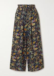 Tory Burch Smocked Printed Voile Wide-leg Pants