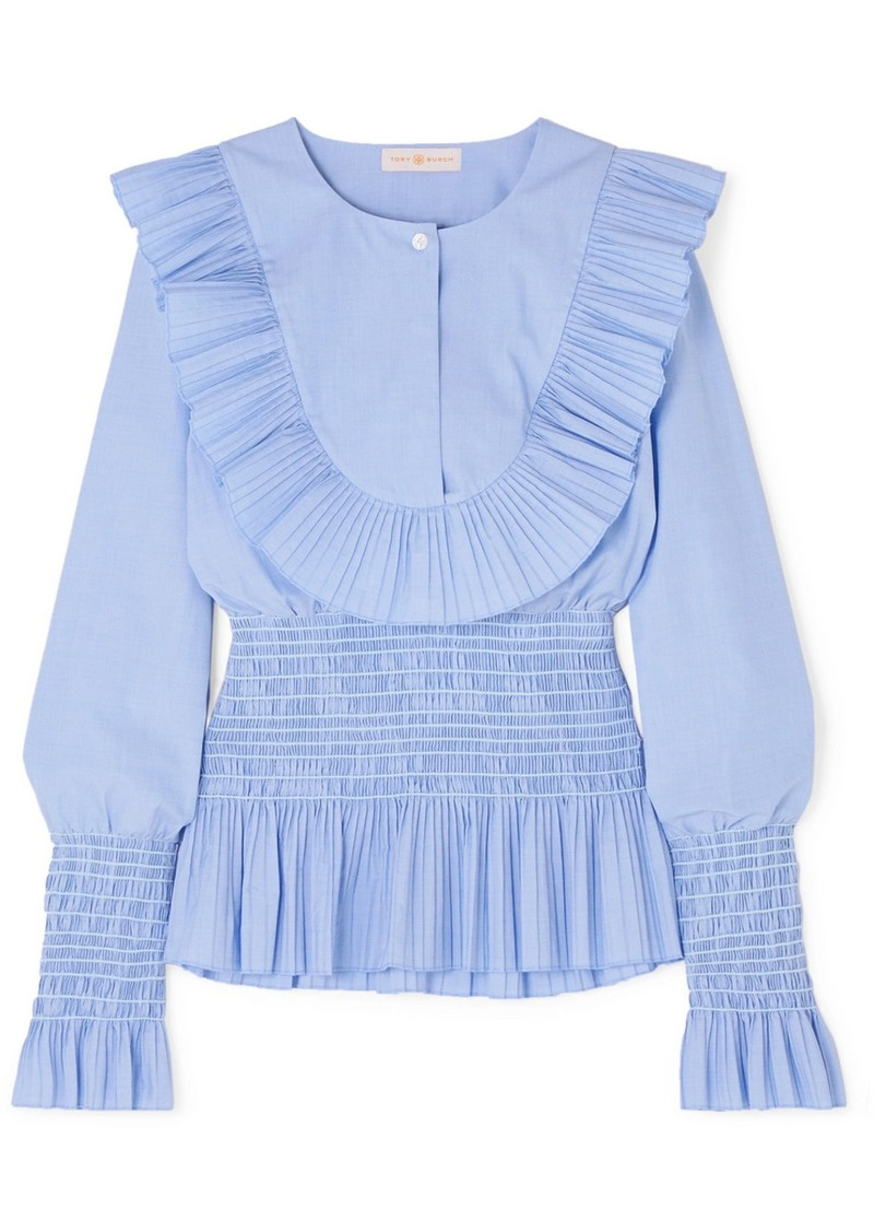 Tory Burch Smocked Ruffled Cotton Blouse