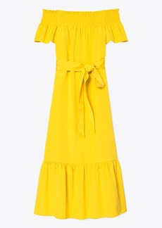 Tory Burch Smocked-Shoulder Tie-Front Dress