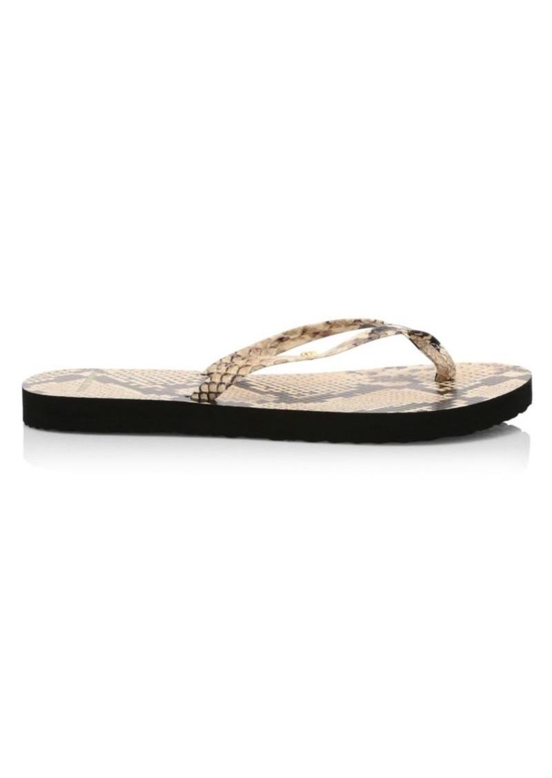 Tory Burch Snakeskin-Embossed Leather Flip Flops