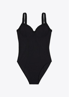 Tory Burch SOLID RUFFLE ONE-PIECE