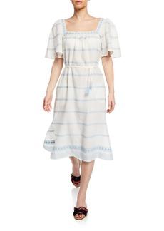 Tory Burch Square-Neck Short-Sleeve Embroidered Ruffle Dress w/ Tassel Belt
