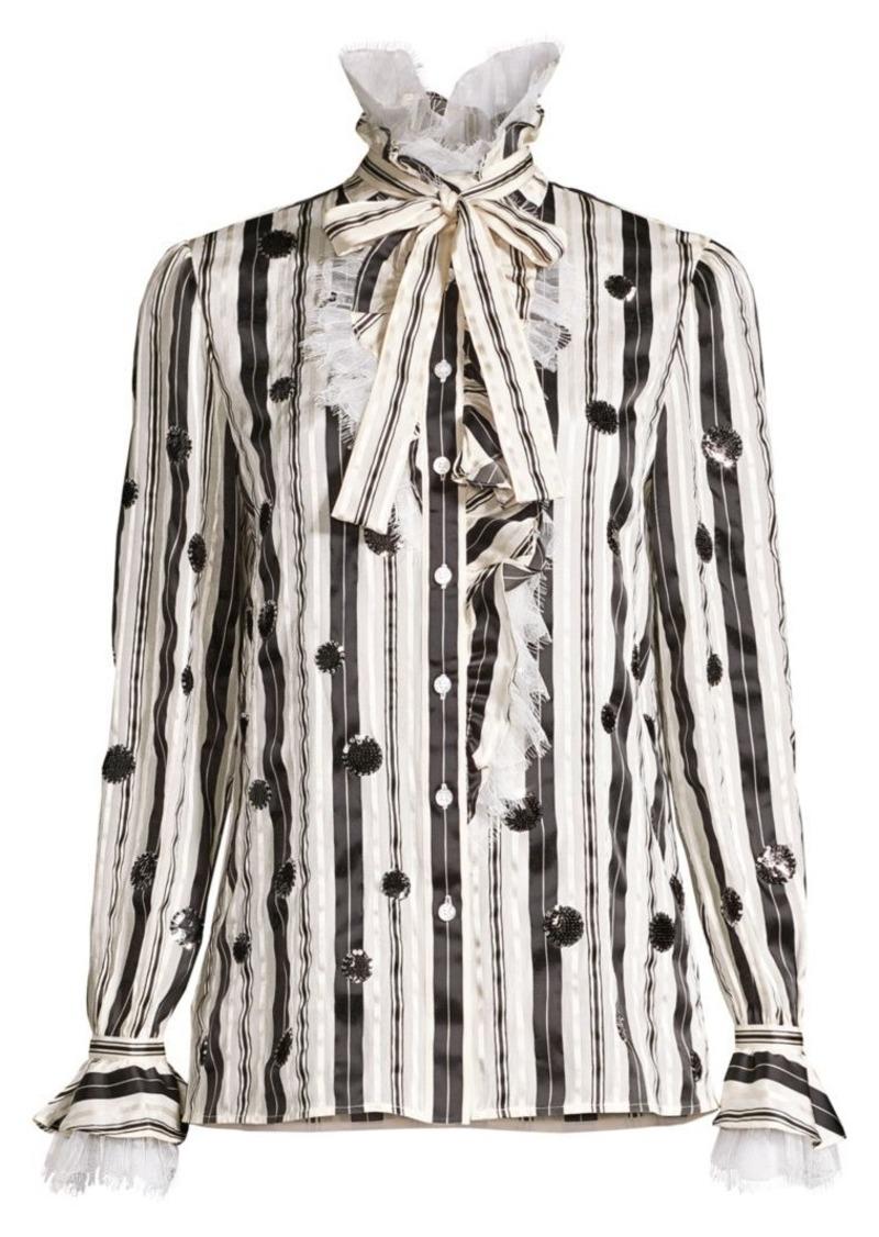 Tory Burch Stripe Bow Sequin Striped Stretch-Silk Blouse